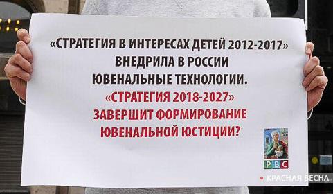 Плакат с пикета против стратегии детства 2018-2027 [Антон Привальский (с) ИА Красная весна]