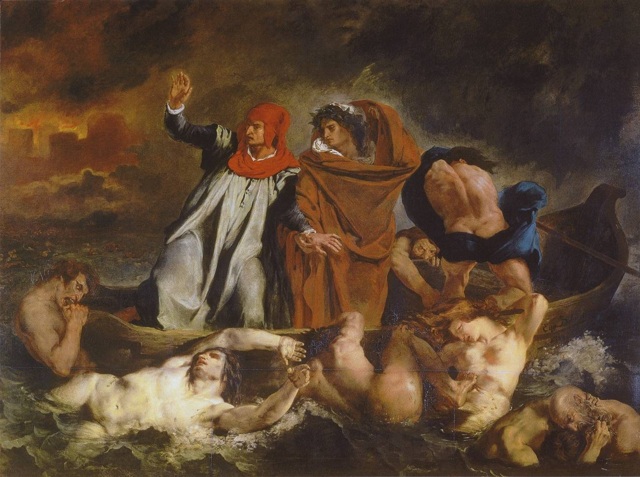Эженом Делакруа. Данте и Вергилий в аду. 1822