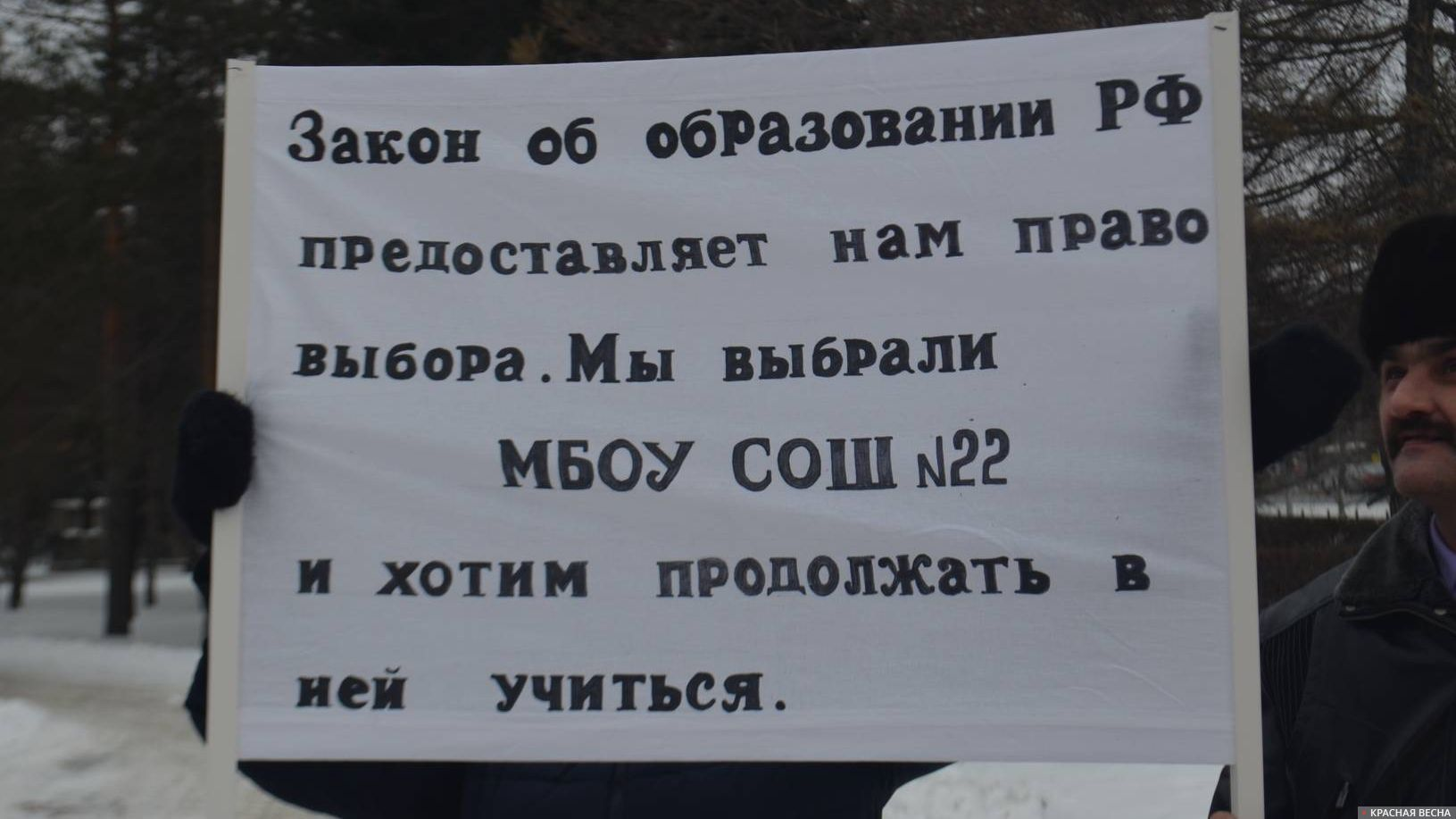 Пикет против «оптимизацию» школы №22. Озерск Выбойщик Мария © ИА Красная Весна