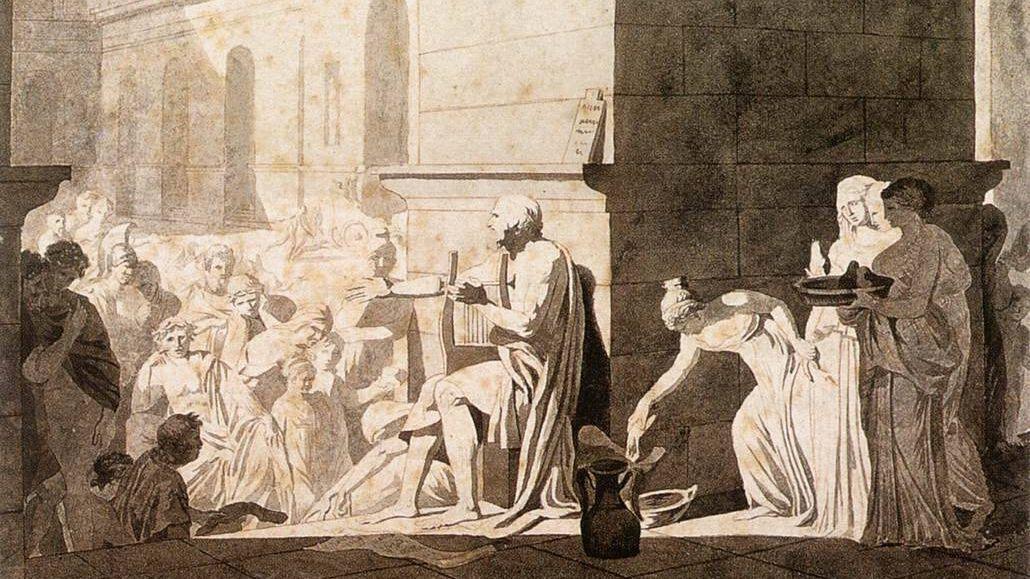 Жак-Луи Давид. Гомер читает стихи грекам. Фрагмент. 1794