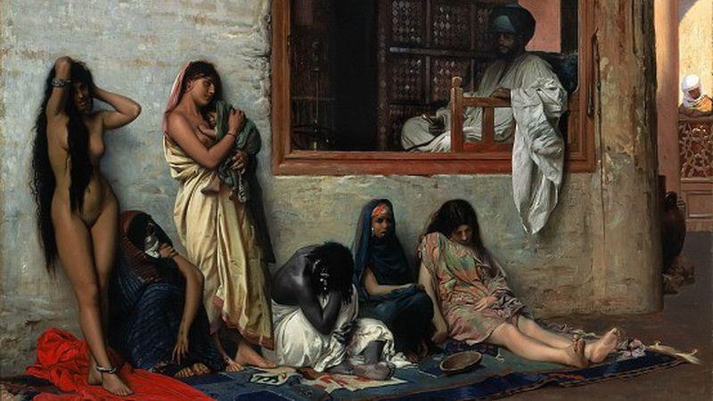 Невольники. фрагмент картины Невольничий рынок Жан-Леон Жером 1871