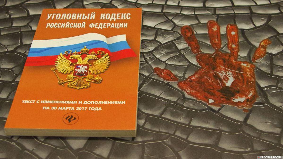 Уголовный кодекс с кровавым отпечатком ладони Татьяна Раджабова © ИА Красная Весна