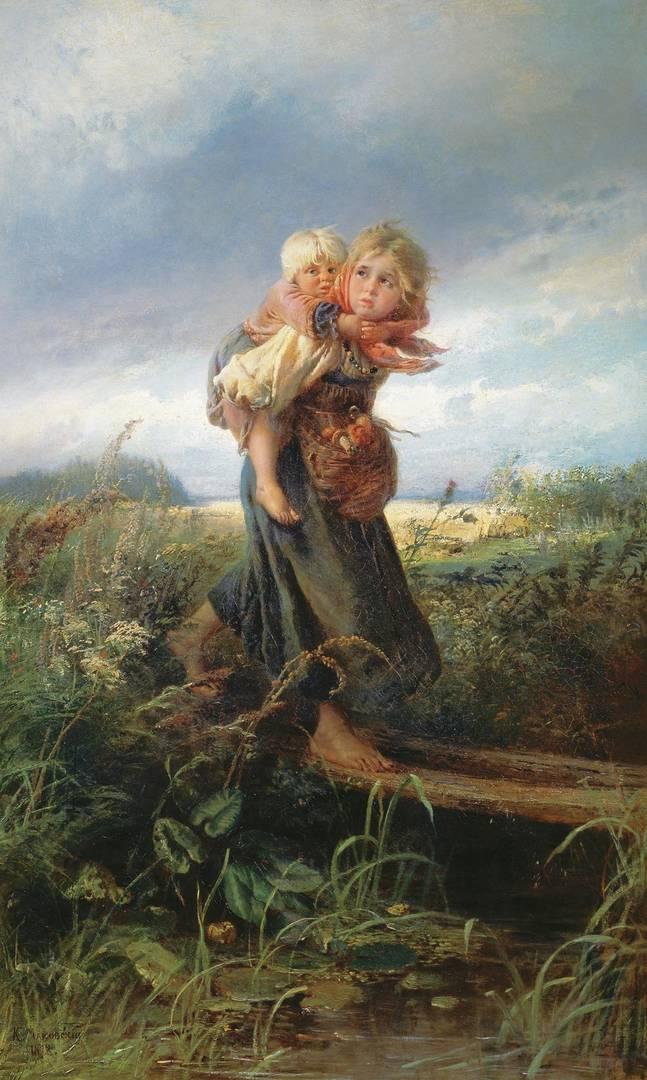 Маковский Константин. Дети, бегущие от грозы. 1872