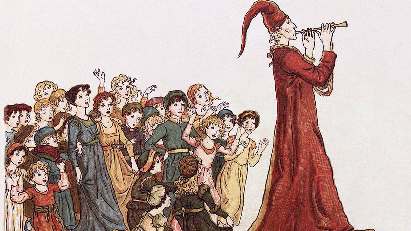 Кейт Гринуэй.Гамельнский крысолов уводит детей из Гамельна. 1910