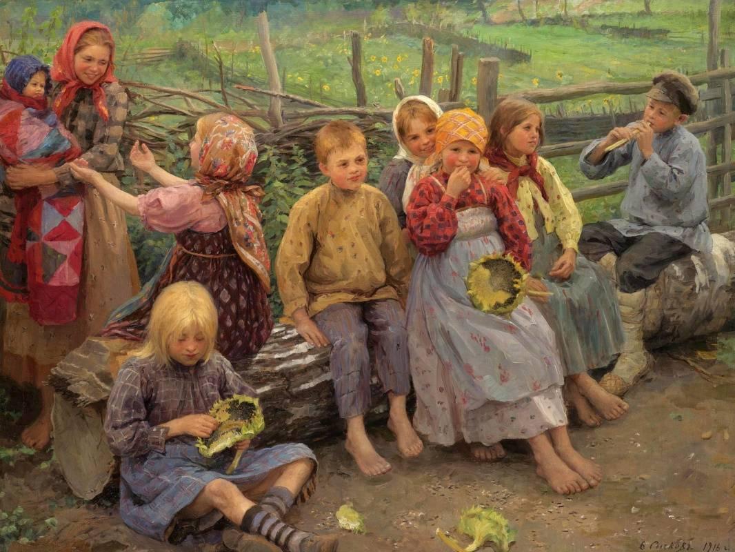 Федот Сычков. Дети с подсолнухами. 1916
