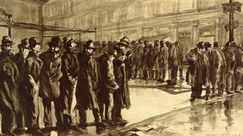 Эверетт Шинн. Безработные (фрагмент). 1908