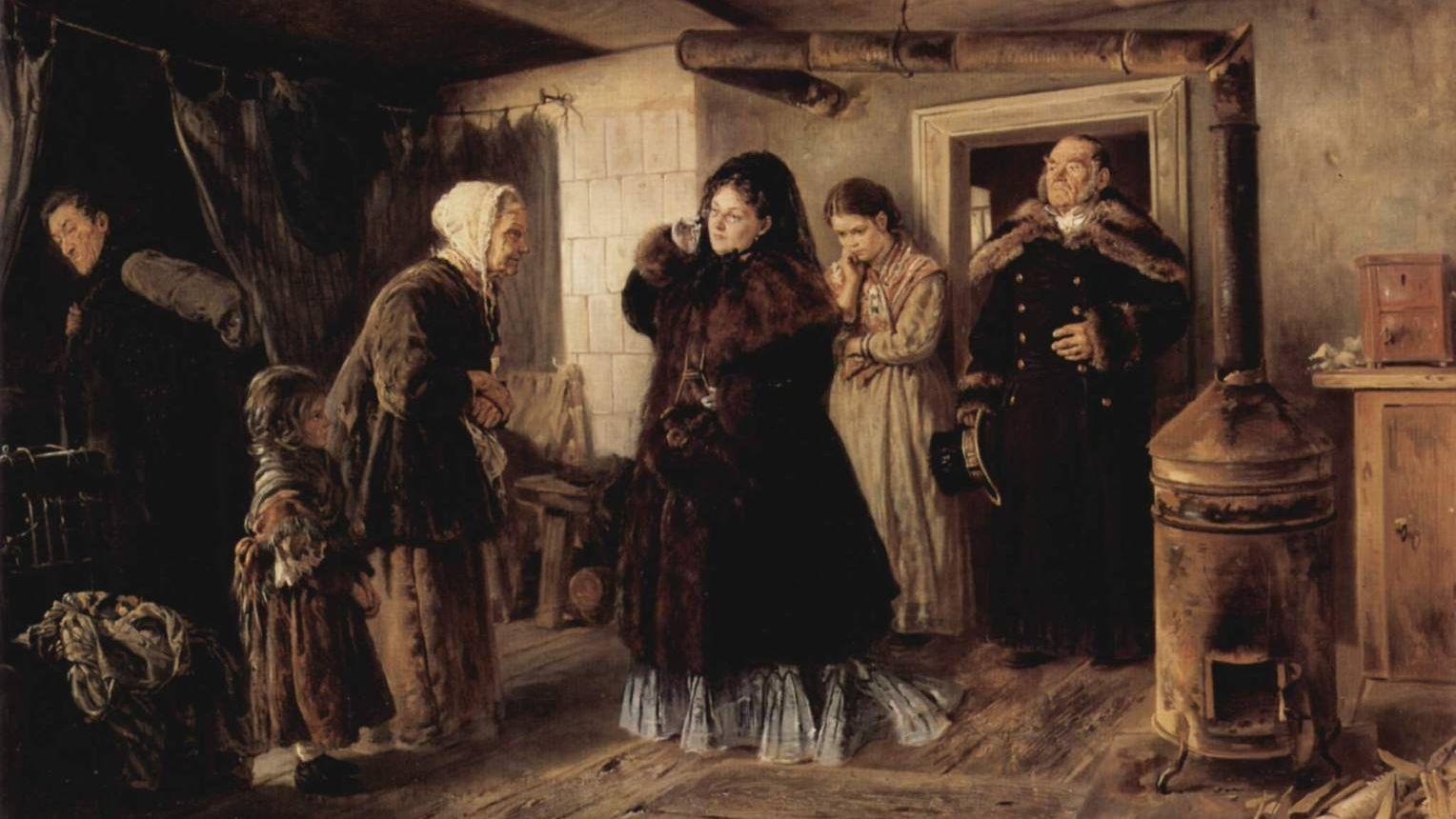 Владимир Маковский. Посещение бедных. 1874