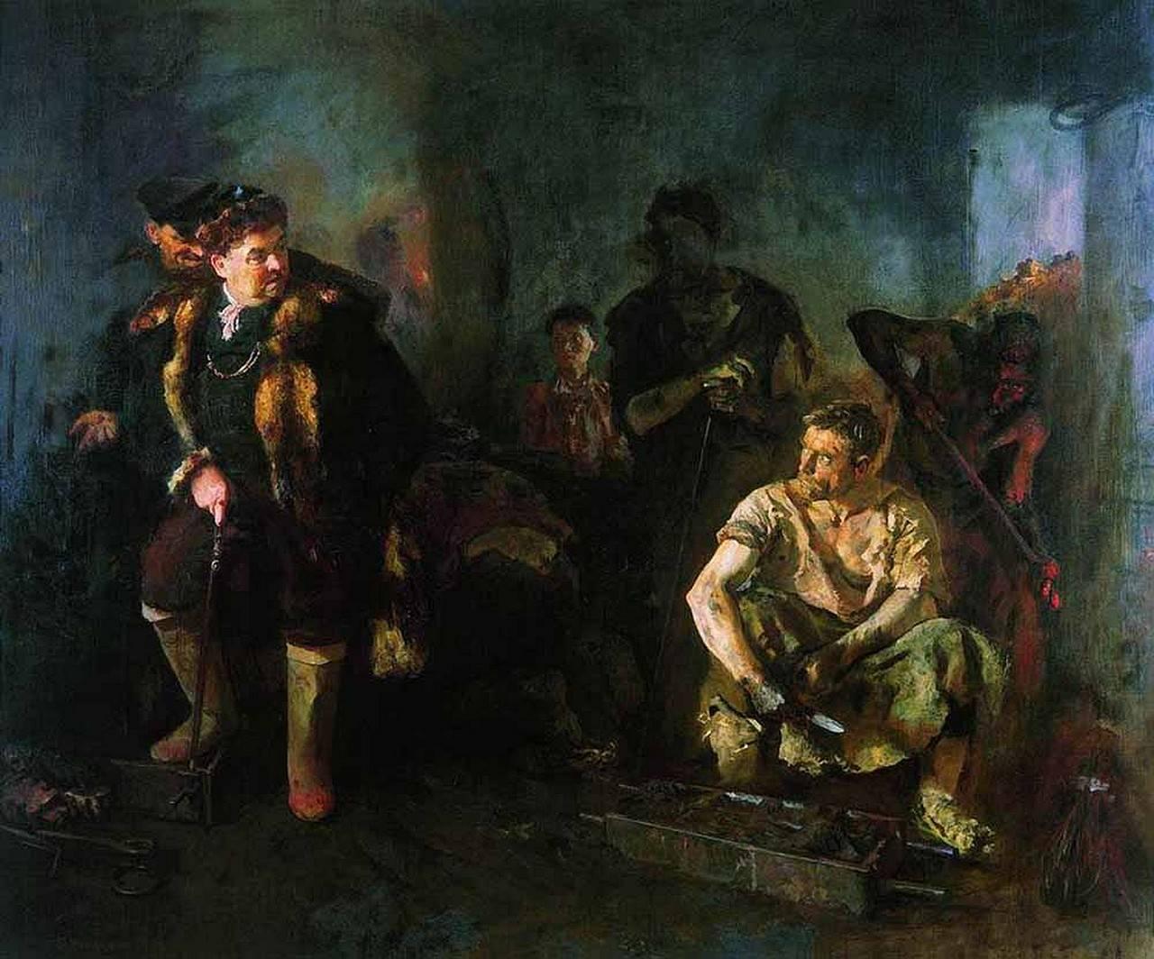 Б. Иогансон. На старом уральском заводе. 1937, Государственная Третьяковская галерея, Москва