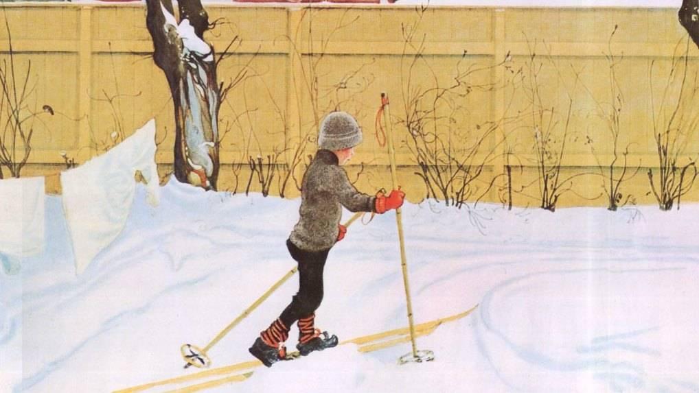 Карл Ларссон. Лыжник. 1909