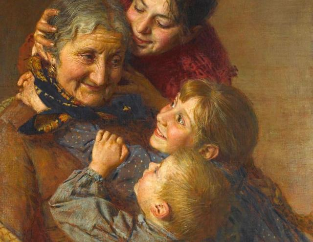 Gaetano Bellei. Бабушка и внуки (фрагмент)