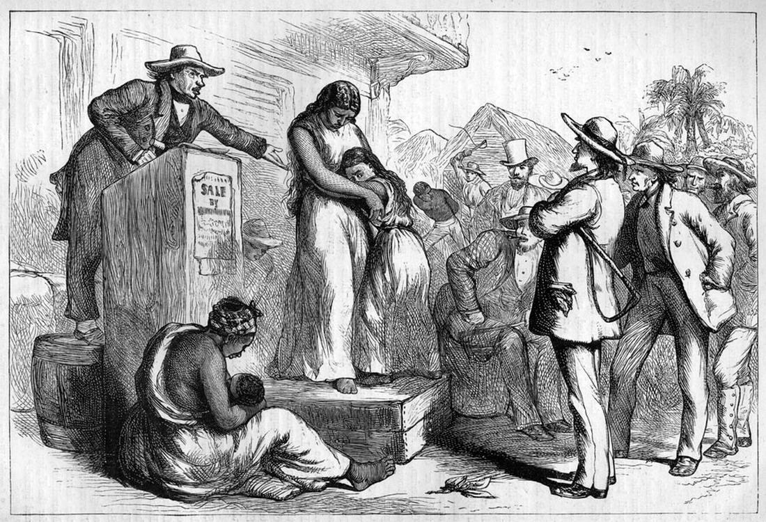 На аукционе по продаже рабов на Юге США (1860-е годы). Гравюра.