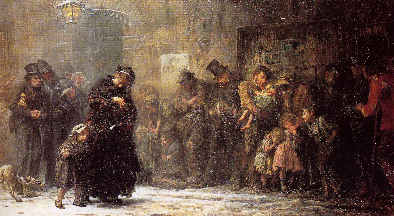 Люк Фиделс. Голодные и бездомные. 1874г.
